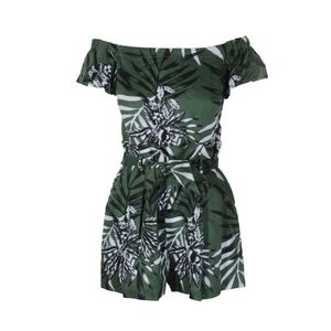 Guess Fulton Green Black Leaf-Print Romper 4
